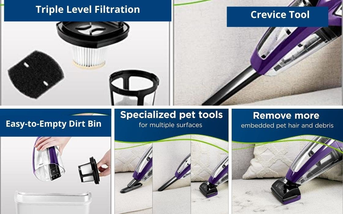 pet hair eraser vacuum feature